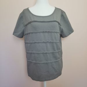 JCrew Gray Pleated Short Sleeve Top Size L
